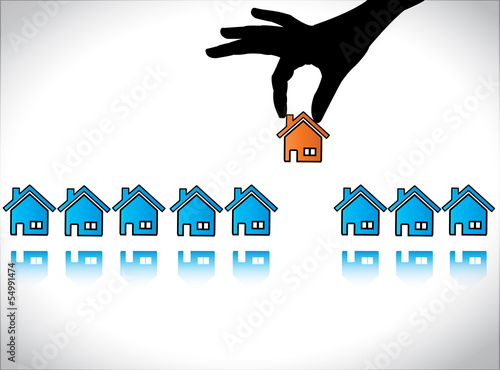 Hand Silhouette choosing & Buying Dream Home house Concept