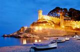 Tossa de Mar, Costa Brava, Spain, Fortess by night