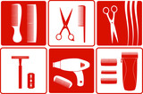 set barbershop tools silhouette on white and red backgrounds poster