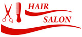 red badge for barbershop - hair salon symbol