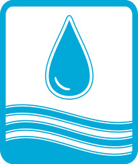 blue reservoir water symbol with drop and wave