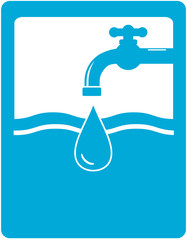 drinking water symbol with faucet, tap and water drop