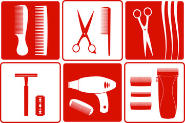 set barbershop tools silhouette on white and red backgrounds