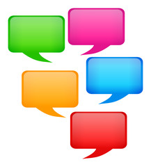 Five Colorful Speech Bubbles
