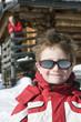 Italien, Südtirol, Seiseralm, Junge Portrait, Großvater im Hintergrund