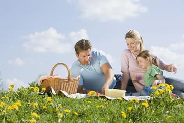Deutschland, Bayern, München, Familie bei Picknick
