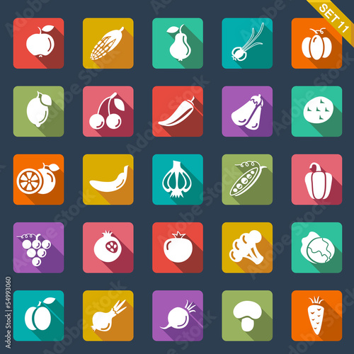 Fruit and vegetables icons – flat design