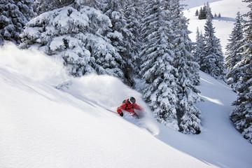 Österreich, Tirol, Kitzbühel, Pass Thurn, Freeride, Ski-Abfahrt Mann