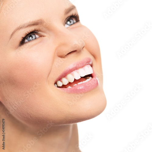 Dentistry female with perfect toothy smile, isolated