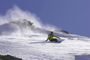 Schweiz, St. Moritz, Snowboarding