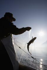 Österreich, Mondsee, Fischer fing einen Fisch in Fischernetz