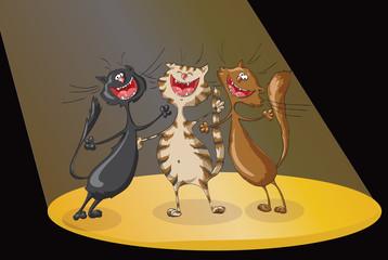 Three happy cats  in spotlights beam on  scene