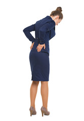 Full length portrait of business woman having back pain