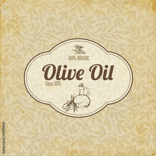 Vintage elegant Olive oil label or brochure