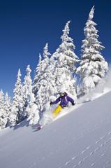 Österreich, Tirol, Kitzbühel, Skifahren junge Frau