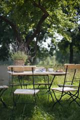 Deutschland, Hamburg, Leere Stühle und Tisch im Garten
