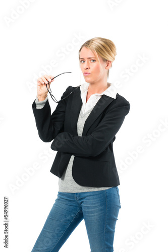 Young woman with white background thinking