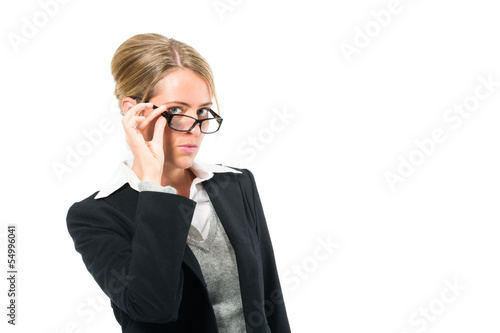 Young woman with white background looking at viewer