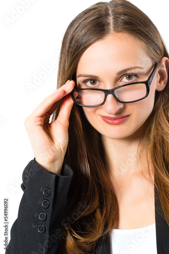 Young woman with glasses looking