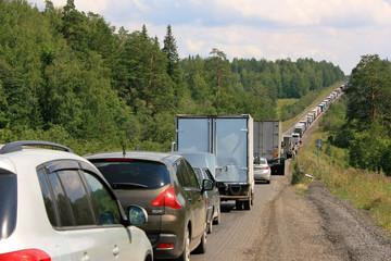 Автомобильная пробка на федеральной трассе М 5