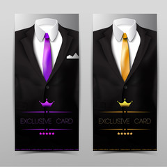 Male clothing suit. Exclusive card