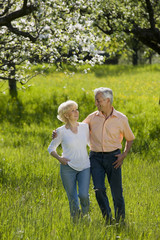 Deutschland, Baden Württemberg, Tübingen, älteres Paar, Senioren laufen über Feld