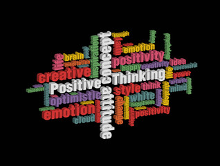colorful positive thinking wordcloud on dark background