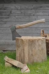 Deutschland, Baden-Württemberg, Axt auf Holzstumpf im Garten