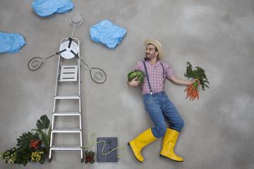 Mann mit Gemüse in der Hand blickt auf Windmühle