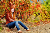 redhead teen girl in fall time