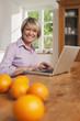 Deutschland, Kratzeburg, erwachsene Frau mit Laptop, Früchte auf dem Tisch im Vordergrund