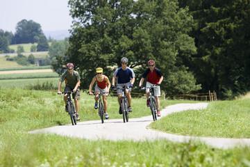 Deutschland, Bayern, Oberland, Vier Mountainbiker