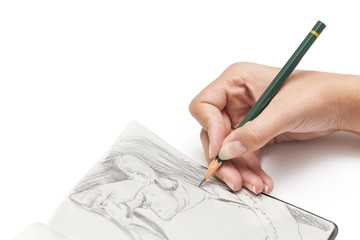 female designer drawing a character