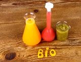 Juices from test tube, biochemistry concept poster