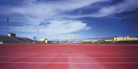 USA, Ansicht von Fußballstadion mit Torpfosten