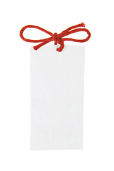 card note with red ribbon