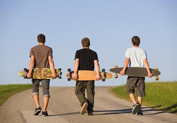 Österreich, Junge Männer mit Skateboard auf der Straße