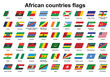 set of African countries flags icons
