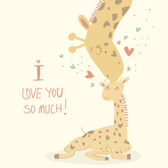 Card with cute giraffes for Mother's day.