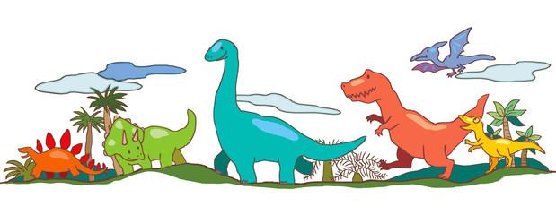 Dinosaur world in children imagination