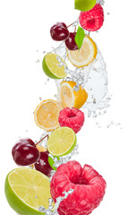 Fresh fruit in water splash