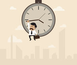 Businessman hangs on an arrow of clock that floating on sky