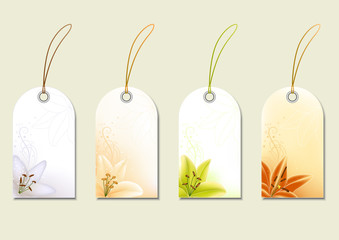 Set of price tags with lilies. Vector illustration.