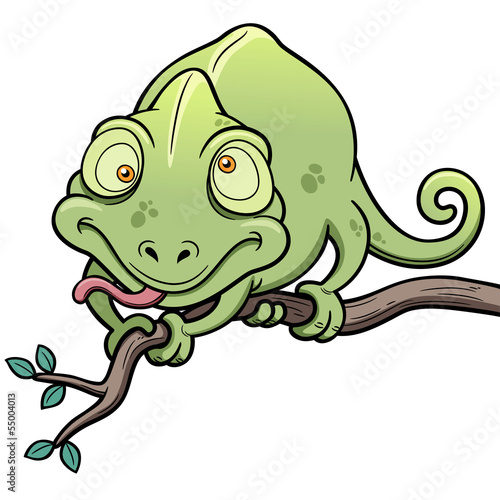 Vector illustration of Cartoon Chameleon