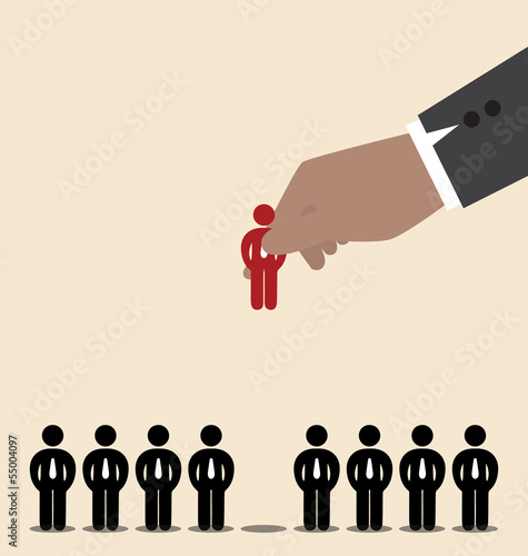 Businessman hand pick red man icon amoung black man icon
