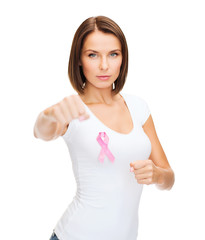 woman with pink cancer ribbon