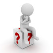 3d man sitting and thinking on red question marks box over white