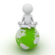 3d man doing meditation on green globe over white