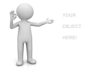 3d man presenting your product and showing okay hand gesture