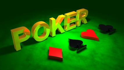 Golden word POKER and card sign motion